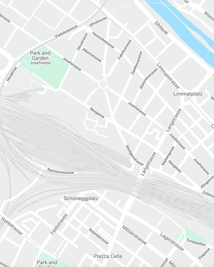 ZÜRICH BRUT GUIDED TOUR FOR KREISLAUF 345 I MAP/©GOOGLE