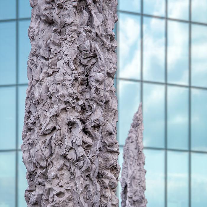 Cast aluminium cyprus tree installation by French artist Jean-Marie Appriou on Galerie Eva Presenhuber's Zurich rooftop I © HEARTBRUT / Karin Hunter Bürki