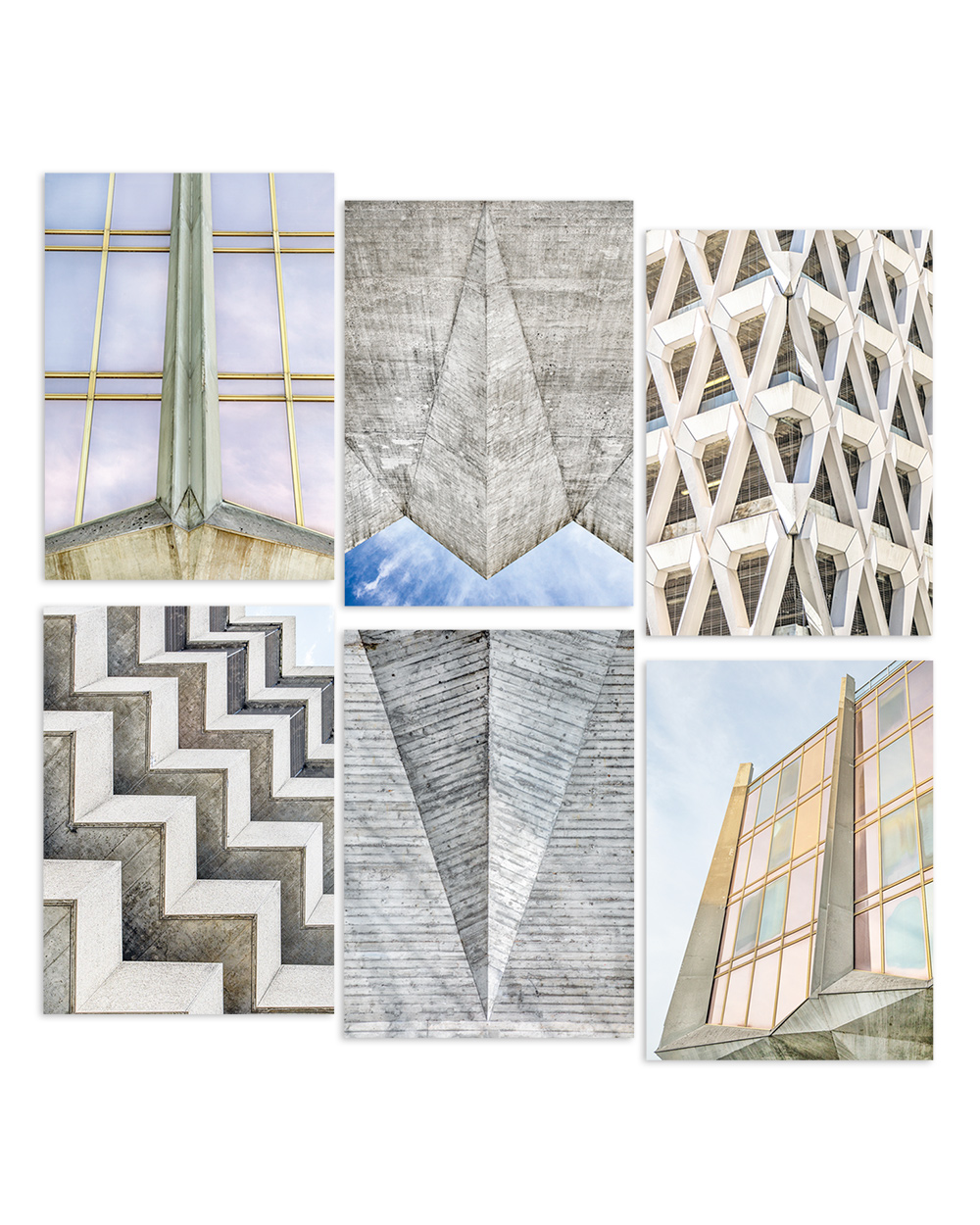 Brutalist Beauties 2, set of 6 postcards A6 feat. Masonry Hall, La Tulipe, Welbeck Street Car Park, Autosilo Balestra I © Heartbrut / Karin Hunter Bürki