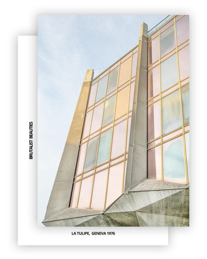 Brutalist Beauties 2,set of 6 postcards A6, La Tulipe (The Tulip),Jack Bertoli, Geneva, Swiss Brutalism I Heartbrut / © Karin Hunter Bürki