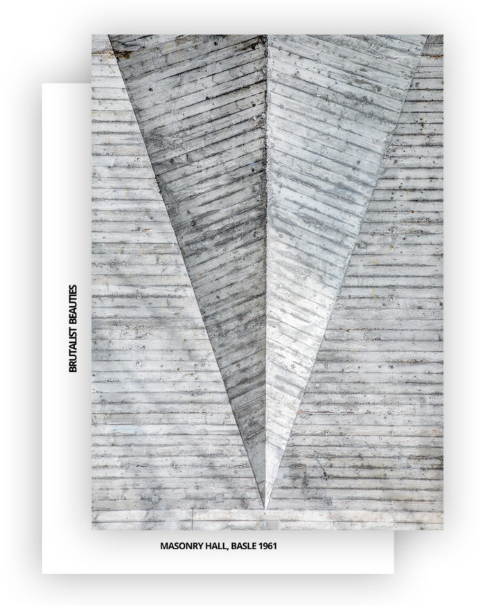 Brutalist Beauties 2, set of 6 postcards A6, Masonry Hall (Maurerhalle), Basle 1961 I © Heartbrut / Karin Hunter Bürki