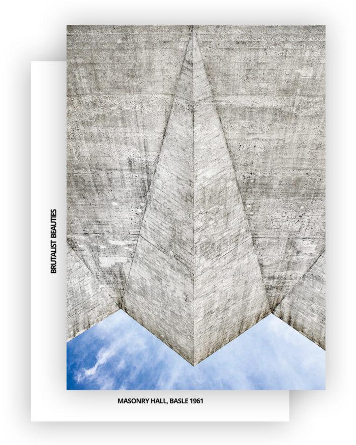 Brutalist Beauties 2,set of 6 postcards A6, Masonry Hall (Maurerhalle), Hermann Baur, Basle 1961 exterior view, Swiss Brutalism I © Heartbrut / Karin Hunter Bürki