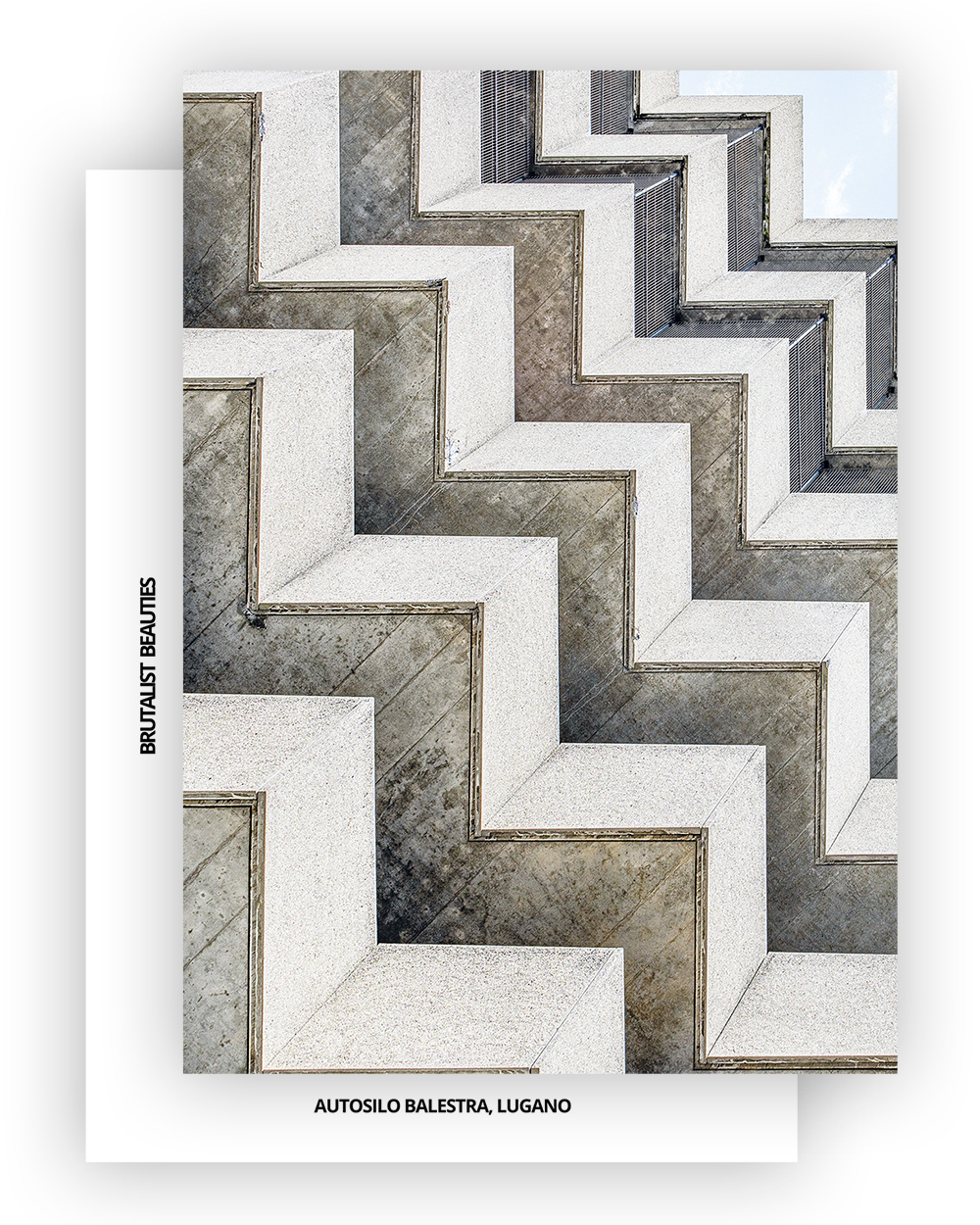 Brutalist Beauties 2, set of 6 postcards A6, Autosilo Balestra, Lugano, Swiss Brutalism I © Heartbrut / Karin Hunter Bürki