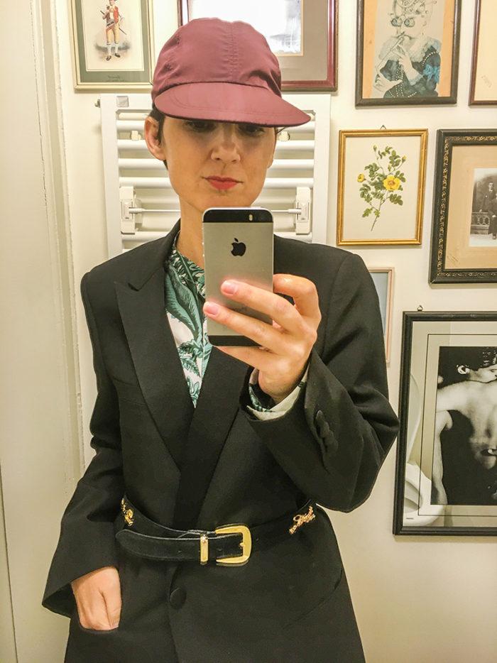Karin Hunter Bürki in her private view outfit: vintage Dior tuxedo, Desmond & Dempsey pyjama top, vegan leather trousers, MM6 I © HEARTBRUT / Karin Hunter Bürki