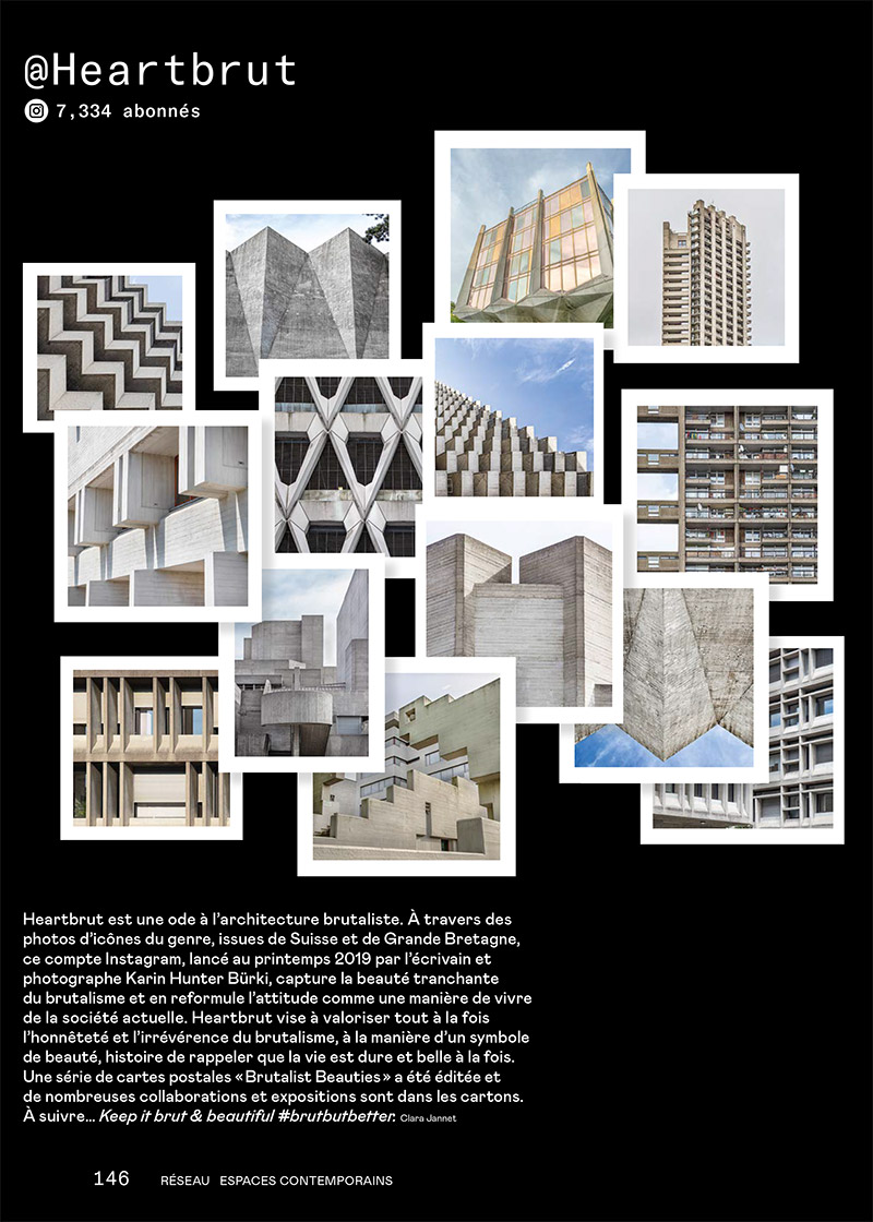 HEARTBRUT feature in 'Espace Contemporains' print issue 12/10, feat. Masonry Hall, National Theatre, Trellick Tower, Autosilo Balestra, La Tulipe, Welbeck Street Car Park and other brutalist beauties