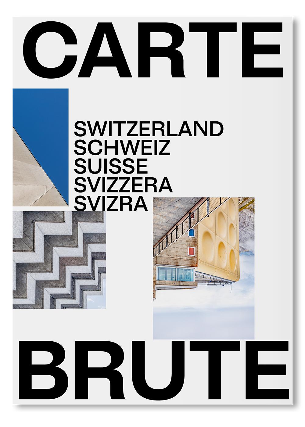 Carte Brute, 50 most striking Swiss béton brut icons from 1927 to today, folded map, cover, © IMG: Karin Bürki / HEARTBRUT, © DESIGN: lugma I Shop on Heartbrut.com