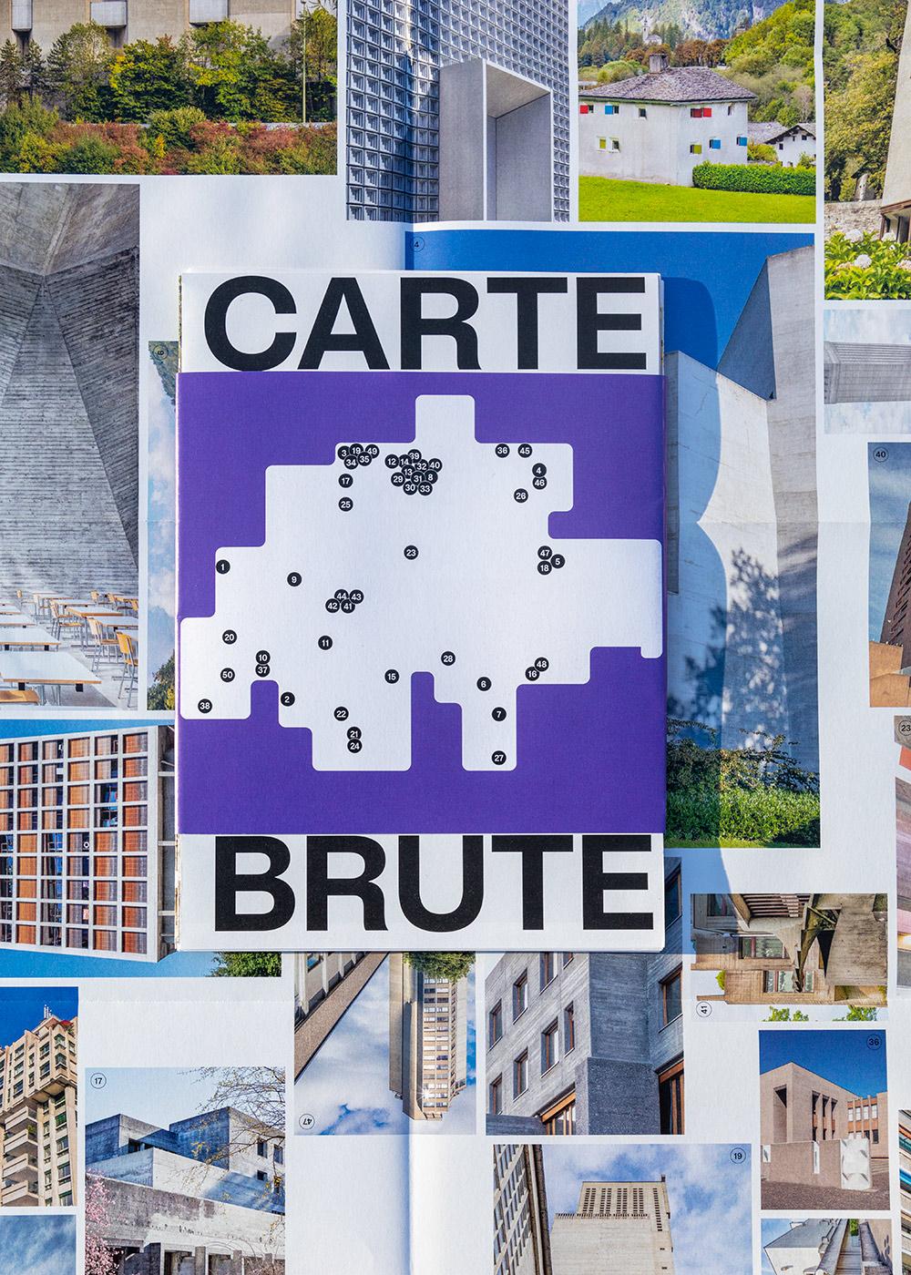 Carte Brute, 50 most striking Swiss béton brut icons from 1927 to today, mood, close-up map, © IMG: Karin Bürki / HEARTBRUT, © DESIGN: lugma I Shop on Heartbrut.com