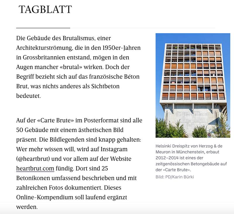 Carte Brute, Press Clipping, Tagblatt, Swiss Brutalism, Schweizer Brutalismus, Ostschweiz I Karin Bürki / Heartbrut.com, 2021