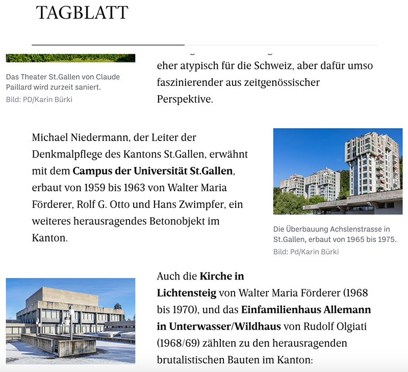Carte Brute, Press Clipping, Tagblatt, Swiss Brutalism, Schweizer Brutalismus, Ostschweiz I © Karin Bürki / Heartbrut.com, 2021