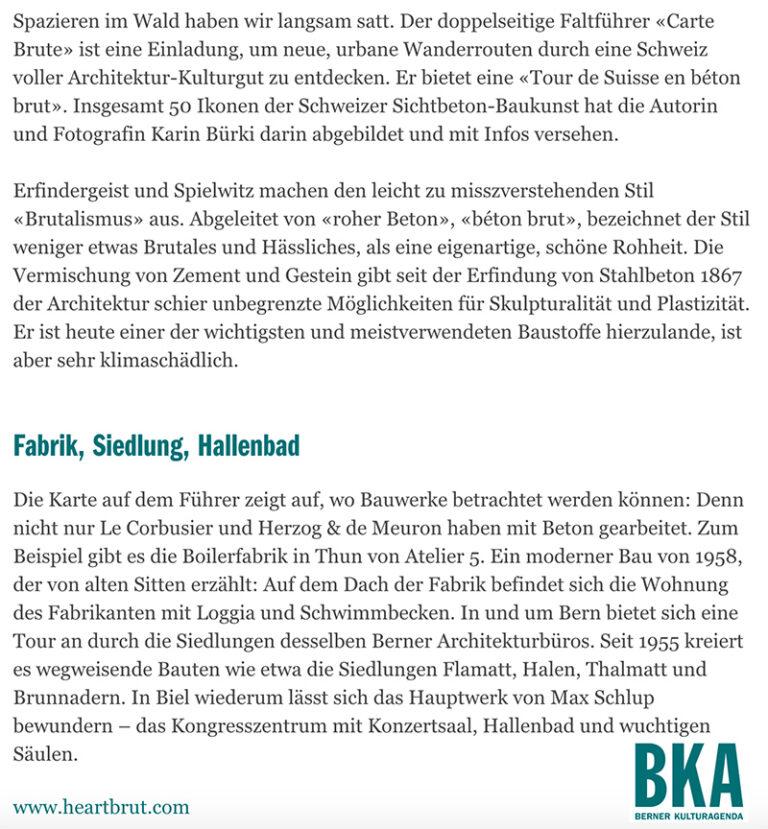Carte Brute, Press Clipping, Berner Kulturagenda, Swiss Brutalism, Schweizer Brutalismus, Beton, Concrete, Ostschweiz I © Karin Bürki / Heartbrut.com, 2021