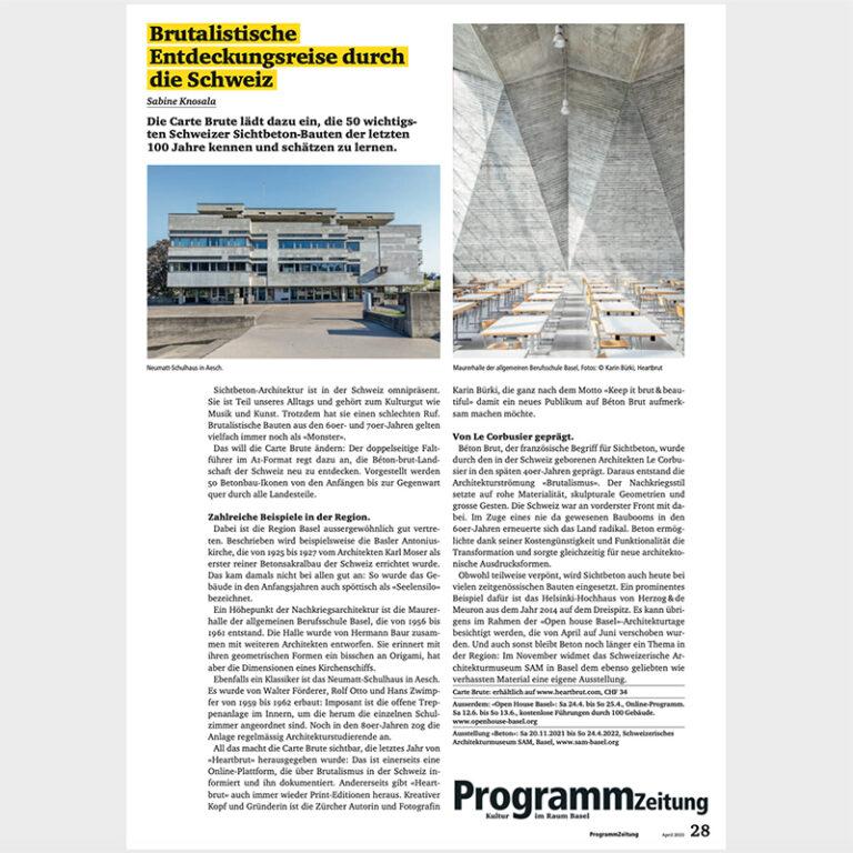 Carte Brute Press Clipping Programmzeitung Basel, Article by Sabine Knosala, April 2021. Brutalismus, Schweiz, Brutalism Switzerland