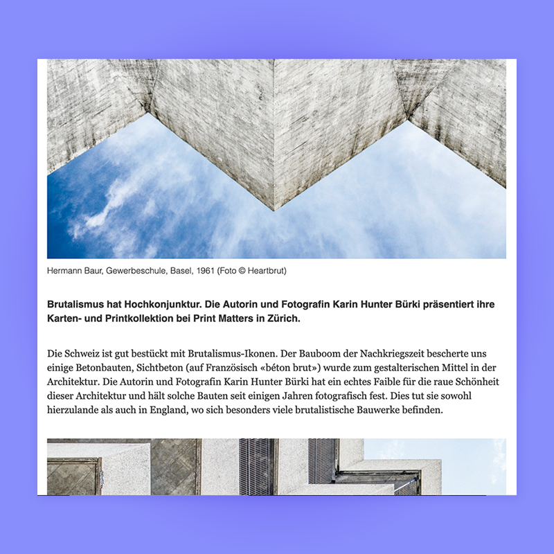 Brutalismus hat Hochkonjunktur, Feature in Swiss Architects, 2019. Explore more on Heartbrut.com