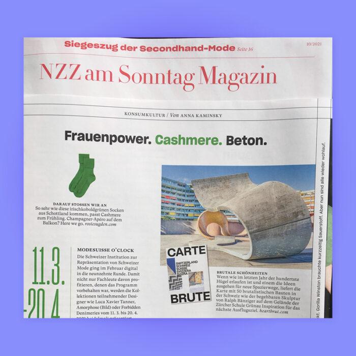 Frauenpower. Cashmere. Beton: Carte Brute Feature, NZZ am Sonntag Magazin, 2021. Explore more on Heartbrut.com