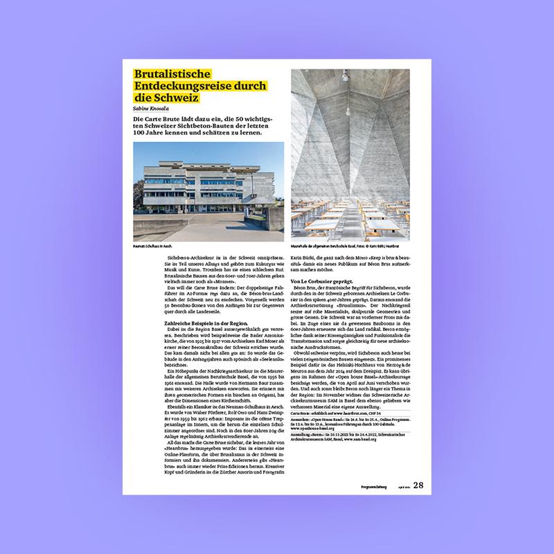 Brutalistische Entdeckungsreise durch die Schweiz: Carte Brute Feature, Programmzeitung Basel, 2021. Explore more on Heartbrut.com