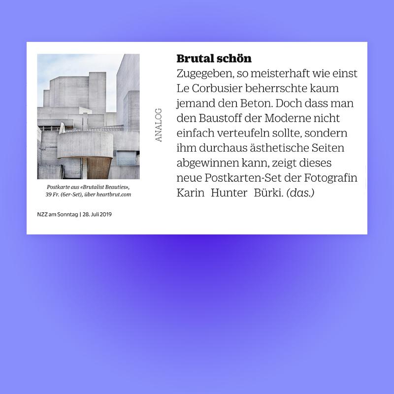 Brutal Schön, Feature in NZZ am Sonntag Stil Magazin, 2019. Explore more on Heartbrut.com